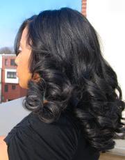 Long length curls for black hair at Flow in Landover, MD.