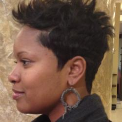 Short spikey style for black hair at Pynk Butterfly Hair & Nail Salon in Columbia, SC.