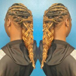This hairlove was given a scalp treatment,loc touch-up,custom scalp treatment and finished with a double braid @ VanCollins The Salon