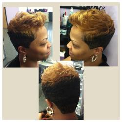 Color, cut, style for black hair at LaShaviea Creations in Garner, NC.