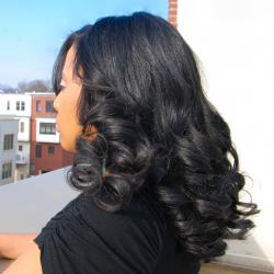 Long length curls for black hair at Flow in Landover, MD.