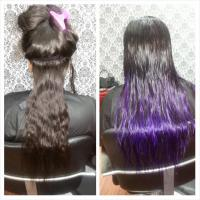 Before and after radiant purple ombre' color