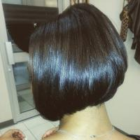 Bob cut on hair extensions