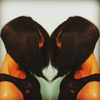 Precision,a-line haircut,blowout with silkpress finish on Afro-Textured hair