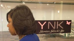 Healthy relaxed hair at Pynk Butterfly Hair & Nail Salon in Columbia, SC.