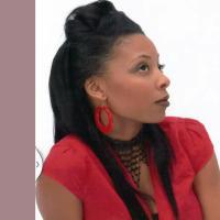 Updo for long black hair at Posh Hair Designz in Laurel, MD.