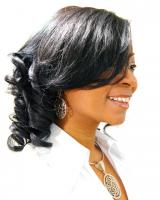 Medium length curls for black hair at Flow in Landover, MD.