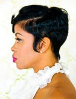 Short hair style & cut side view for black hair at Flow in Landover, MD.